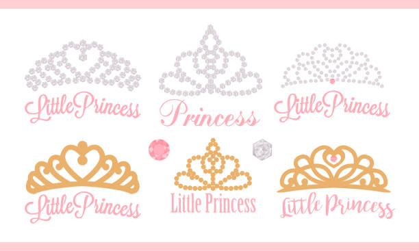 A set of small diadems. Vector design element for royal party ( baby, bridal shower; wedding: birthday) Princess gold crown with gem. Golden silhouettes for laser cutting. Stickers of diamonds. Gems diademe stock illustrations