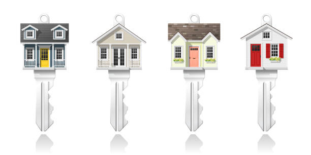 Set of small house keys isolated on white background , vector , illustration Set of small house keys isolated on white background , vector , illustration front door stock illustrations