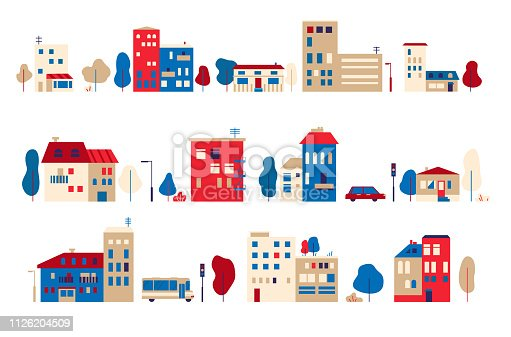 A set of small houses in a toy flat style Vector graphic illustration