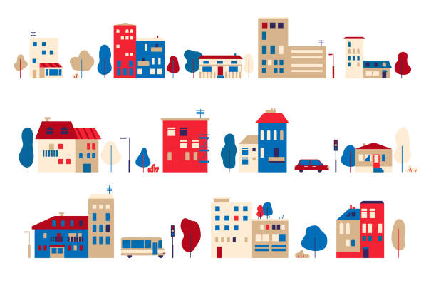A set of small houses in a toy flat style A set of small houses in a toy flat style Vector graphic illustration backgrounds clipart stock illustrations