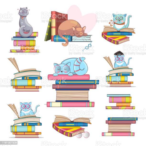 Set of smart cats with glasses and books handdrawn illustration cute vector id1161307329?b=1&k=6&m=1161307329&s=612x612&h=bwkqpll96k8xonjevqc5jg ld5yw enlo8plkmdk1xa=