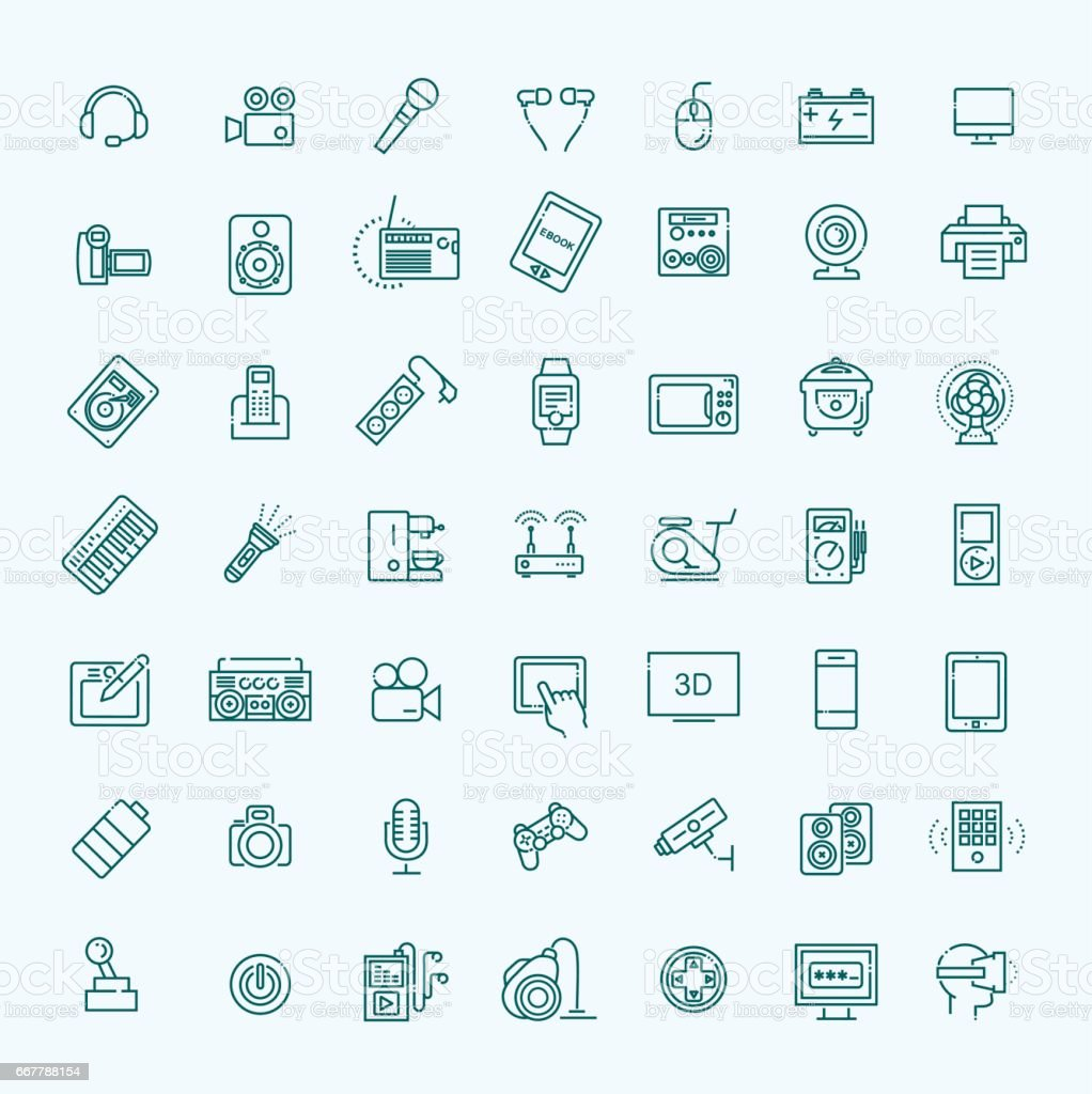 Set of smart devices and gadgets, computer equipment and electronics vector art illustration