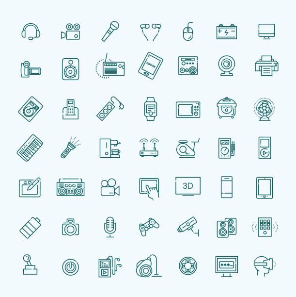 illustrations, cliparts, dessins animés et icônes de ensemble de dispositifs intelligents et gadgets, matériel informatique et électronique - rallonge électrique