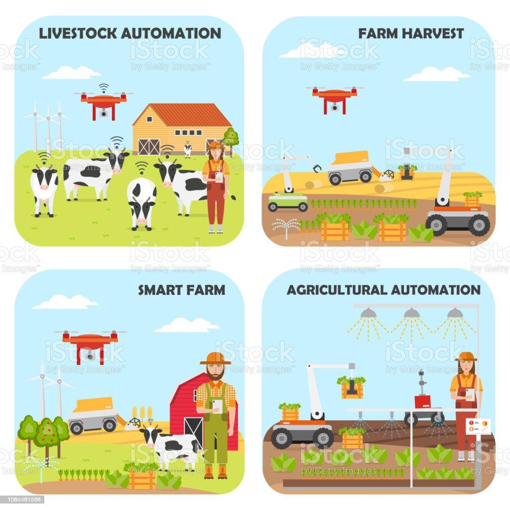 Set Of Smart Farm Backgrounds Agricultural And Livestock