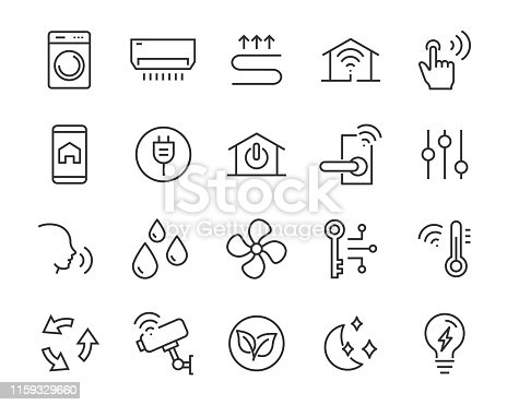set of smart house icons, such as eco, security, building, technology