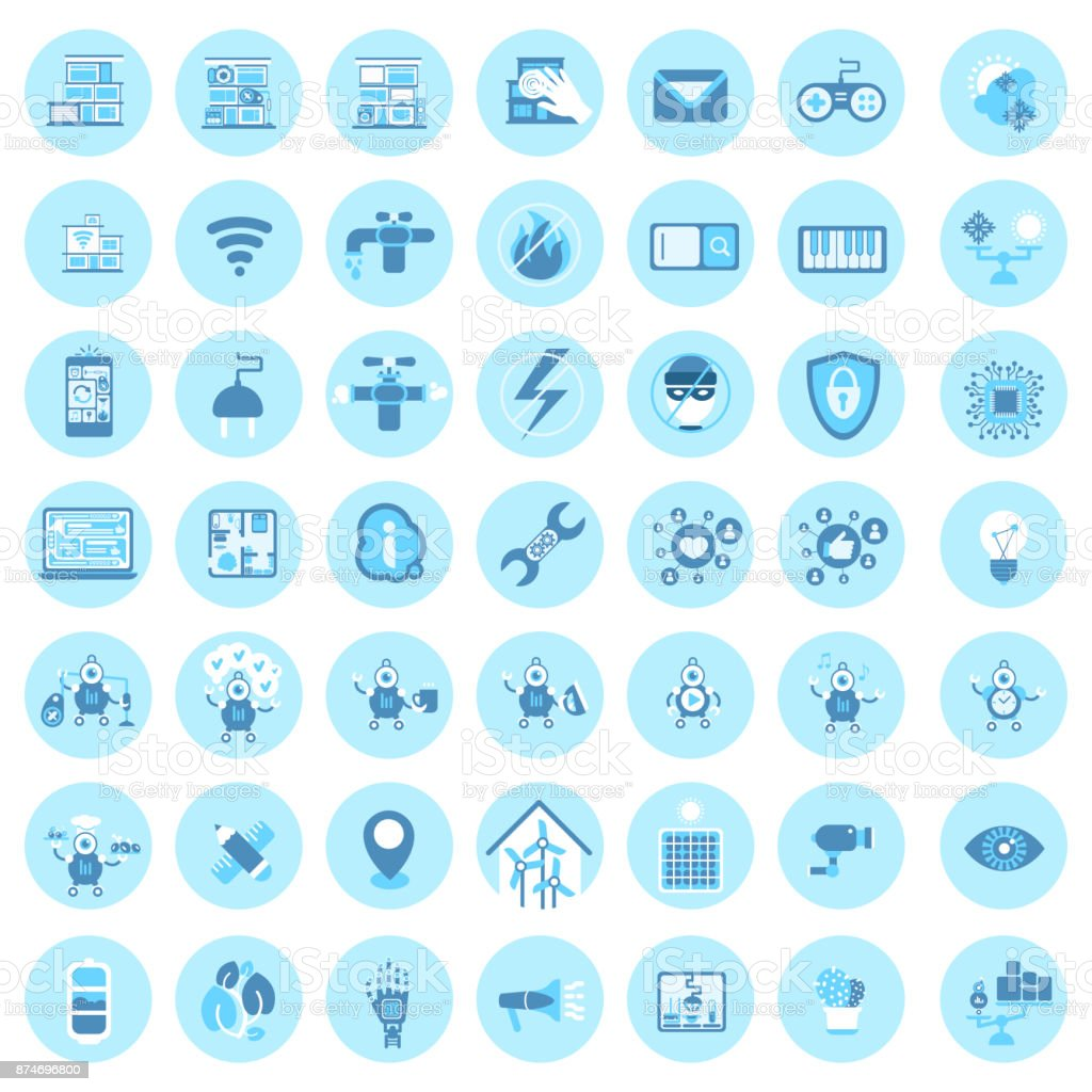 Set Of Smart House Technology Icons Modern Home Control System vector art illustration