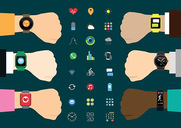 Set of Smart Watches Set of Smart Watches fitness tracker stock illustrations