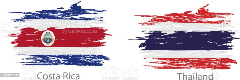 Conjunto de esfregaço pintado bandeiras de diferentes países - ilustração de arte em vetor