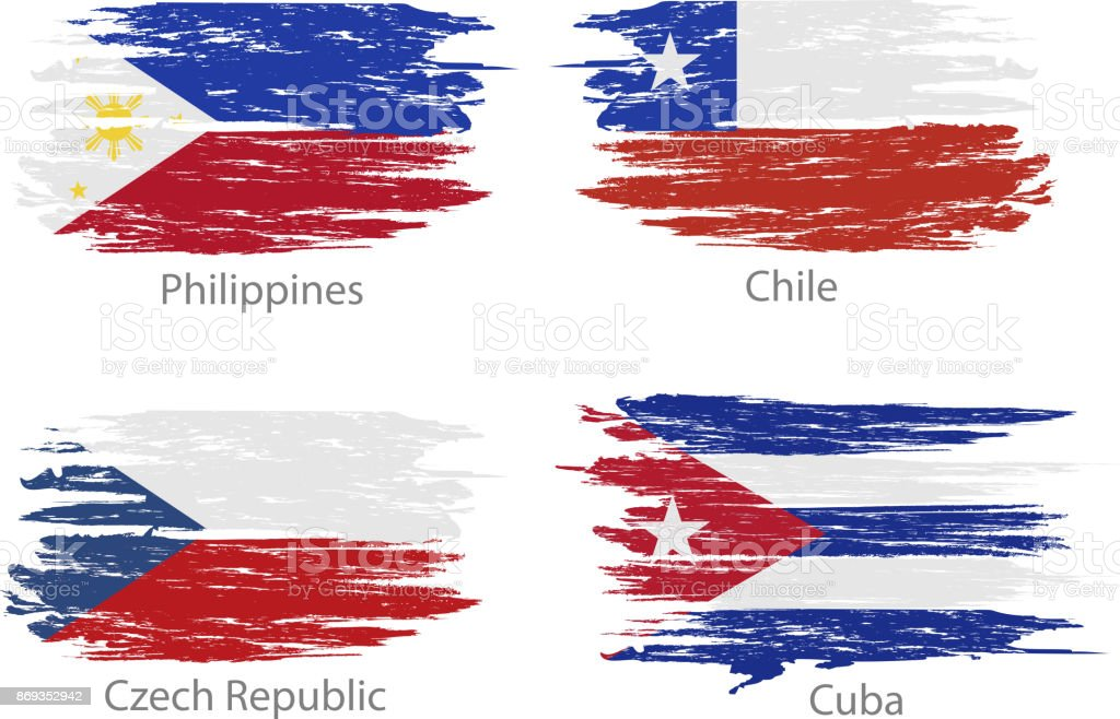 Conjunto de frotis pintado banderas de diferentes países - ilustración de arte vectorial