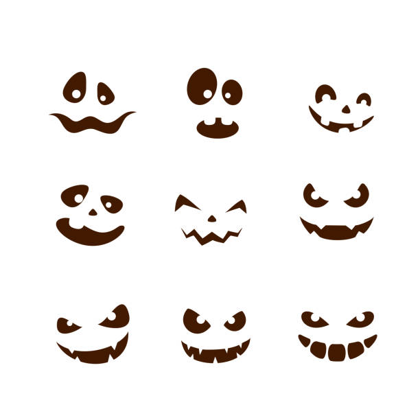 Set of smiles for Halloween Set of facial expressions for Halloween with smile on white background, illustration. pumpkin stock illustrations