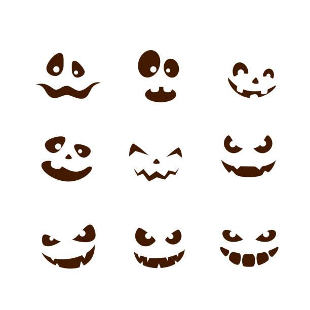 set of smiles for halloween - antropomorficzna twarz stock illustrations
