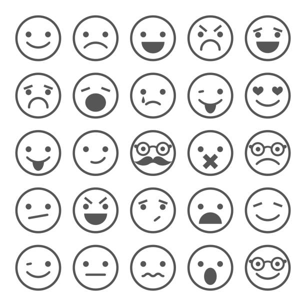 set of smiley icons: different emotions - happy emoji stock illustrations, clip art, cartoons, & icons