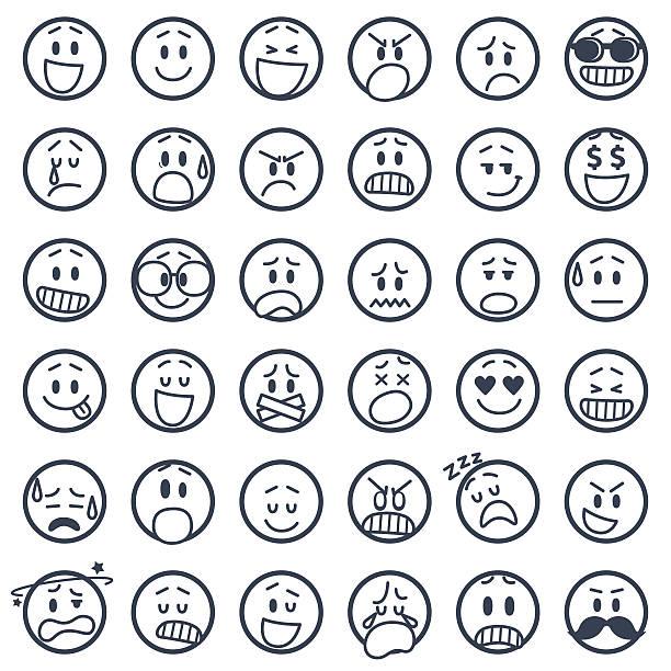 ilustraciones, imágenes clip art, dibujos animados e iconos de stock de conjunto de iconos de smiley - lágrimas de emoji alegre