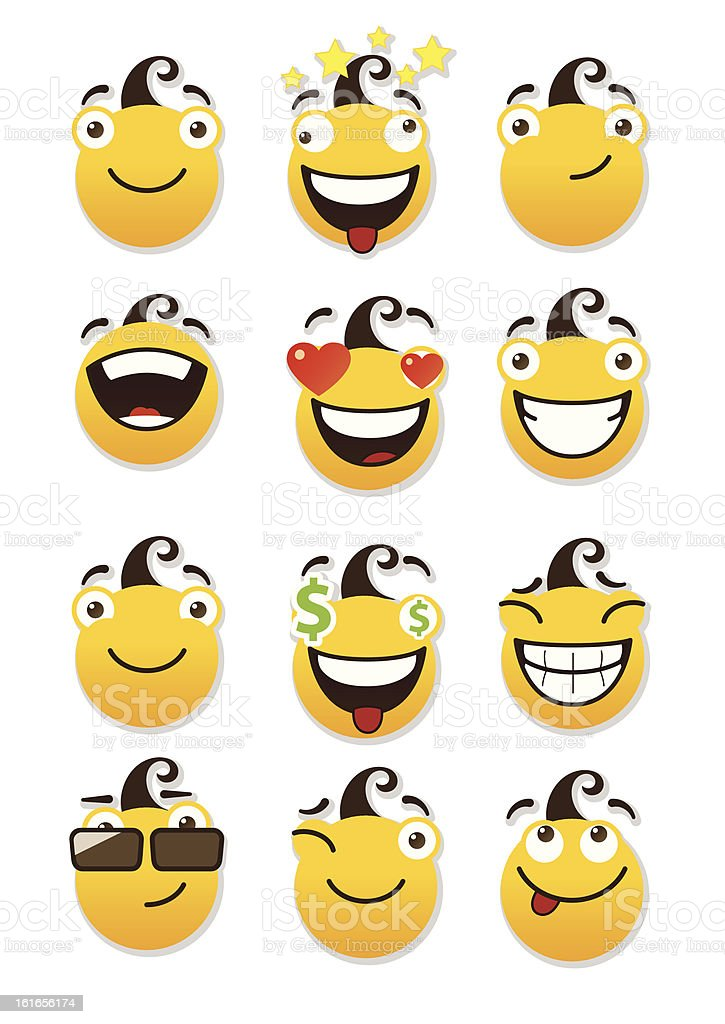 set of smileys royalty-free stock vector art