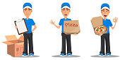 Set of smiling delivery man in blue uniform