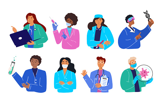 Set of smiling doctors, nurses and paramedics. Portraits of male and female medic workers in uniform with stethoscopes, masks and gloves. Flat cartoon vector illustration isolated on white background
