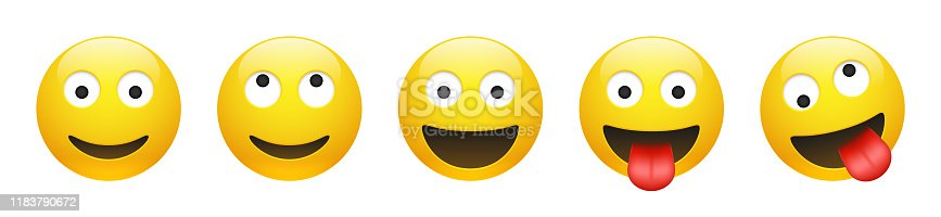 Set of vector yellow smiling, dreaming, insane, crazy emoticon with opened eyes on white background. Glossy funny cartoon Emoji icon collection. 3D illustration for chat or message.