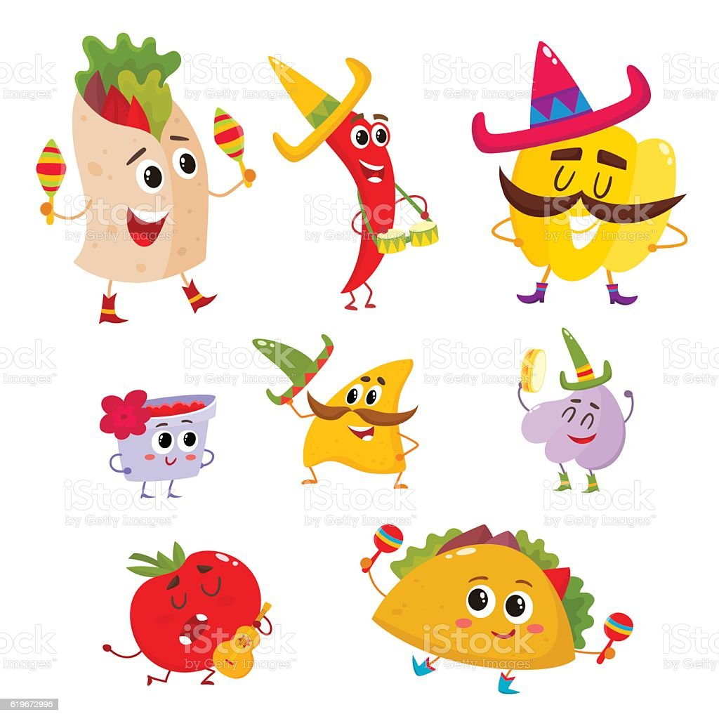 Set of smiling Mexican food playing music and having fun vector art illustration