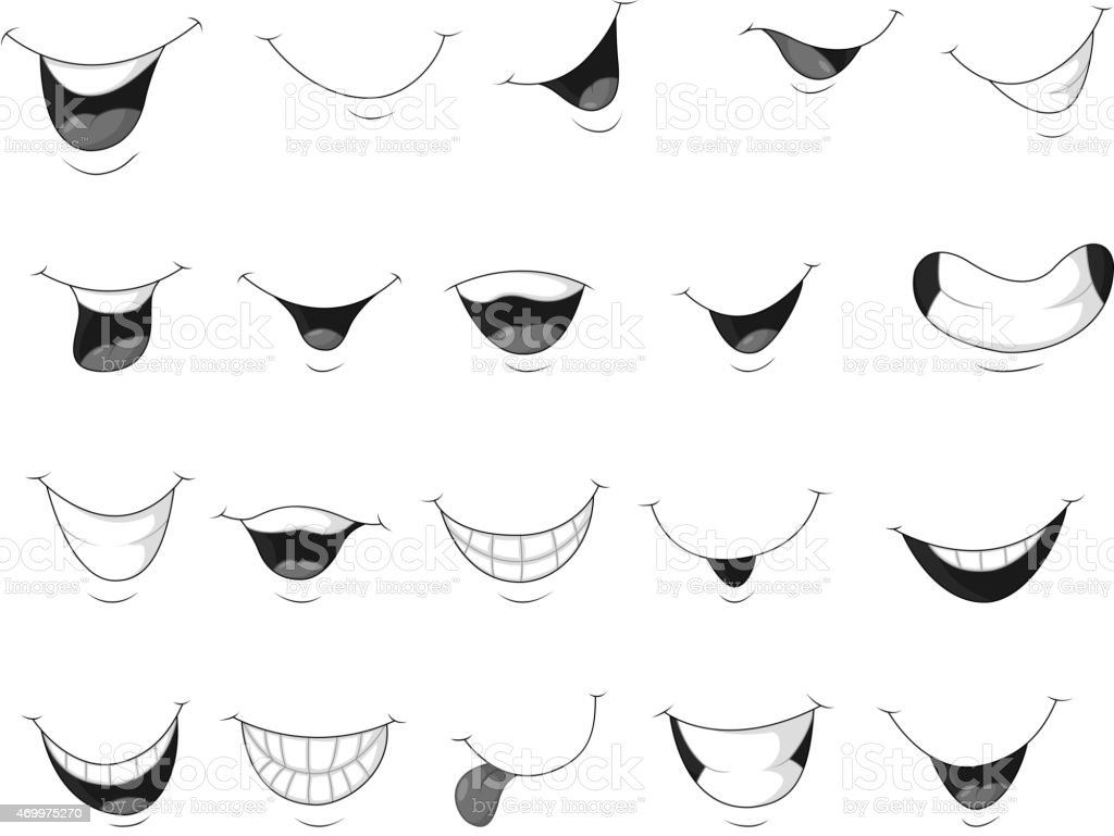 Set of smiling mouth cartoon vector art illustration