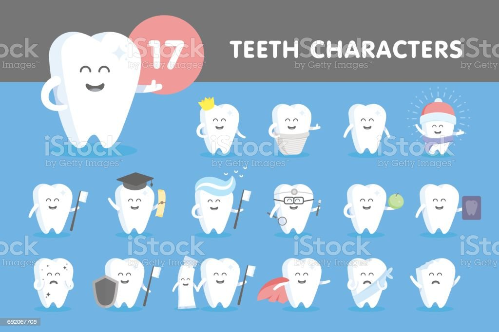 Set of smiling teeth vector art illustration