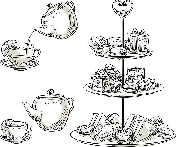 Set of snacks on a tray. Teatime. Vector sketch. vector art illustration