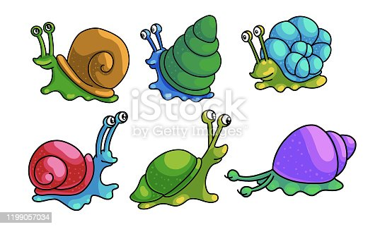 Set of isolated hand drawn funny cute snails with shells crawling over white background vector illustration. Happy illustrations for children book concept