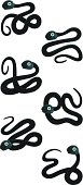 Set of snakes on white background