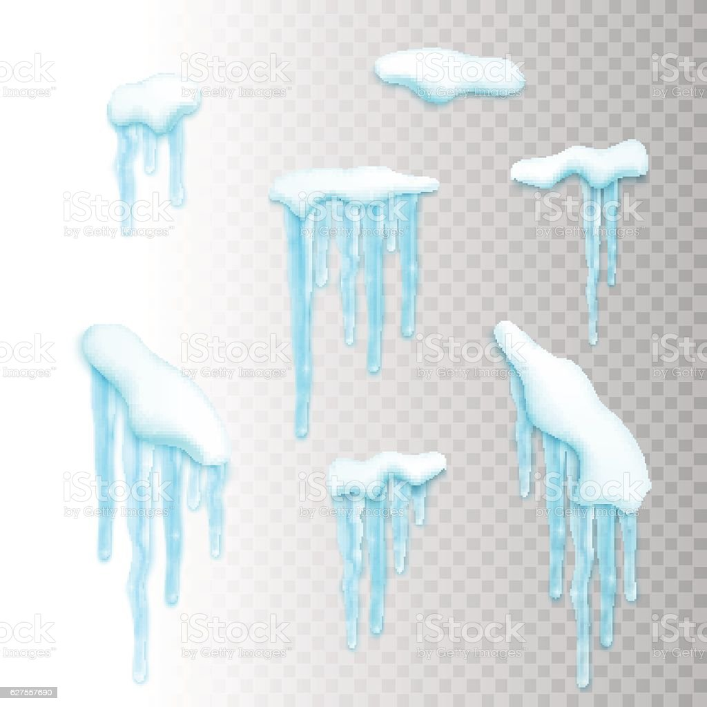 Set of snow borders with icicles vector art illustration