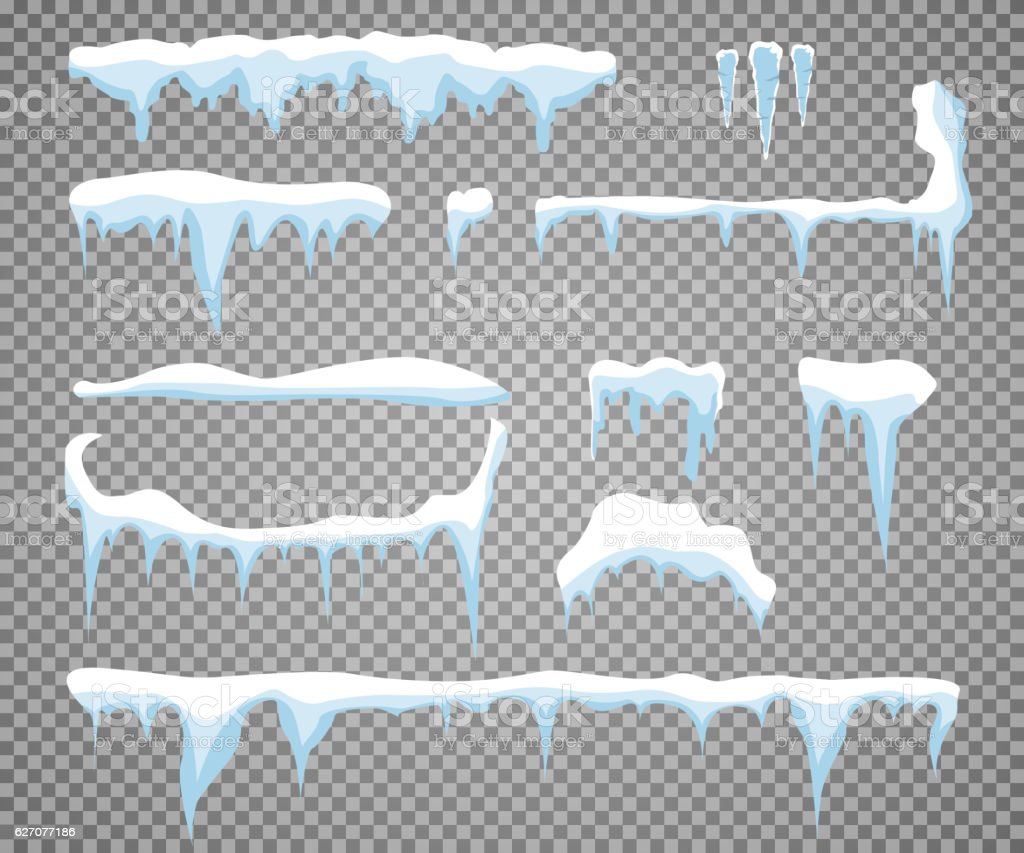Set of snow icicles isolated on transparent background vector art illustration