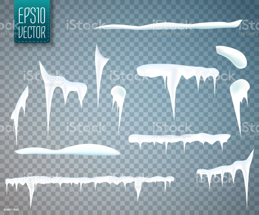 Set of snow icicles isolated on transparent background. Vector vector art illustration