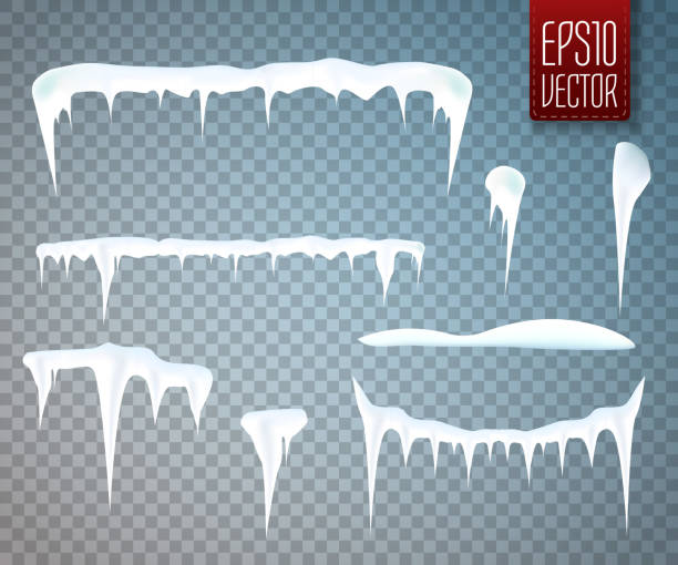ilustraciones, imágenes clip art, dibujos animados e iconos de stock de set of snow icicles isolated on transparent background. vector - nieve