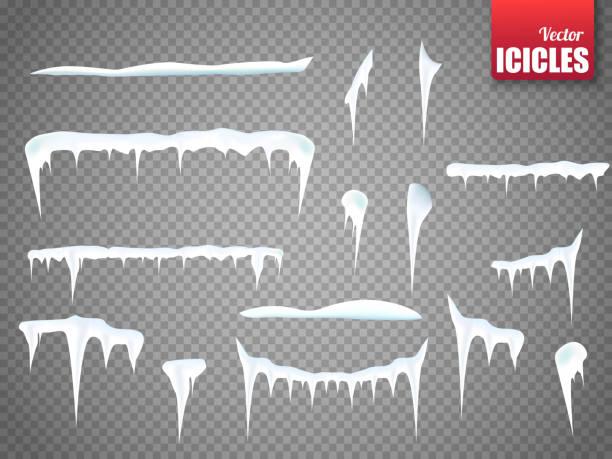 satz von schnee eiszapfen auf transparenten hintergrund isoliert. vektor - eiszapfen stock-grafiken, -clipart, -cartoons und -symbole