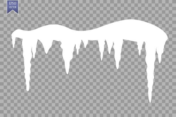 satz von schnee eiszapfen schneekappe auf transparenten hintergrund isoliert. verschneiten elemente auf winter hintergrund. vektor vorlage im cartoon-stil für ihr design - eiszapfen stock-grafiken, -clipart, -cartoons und -symbole