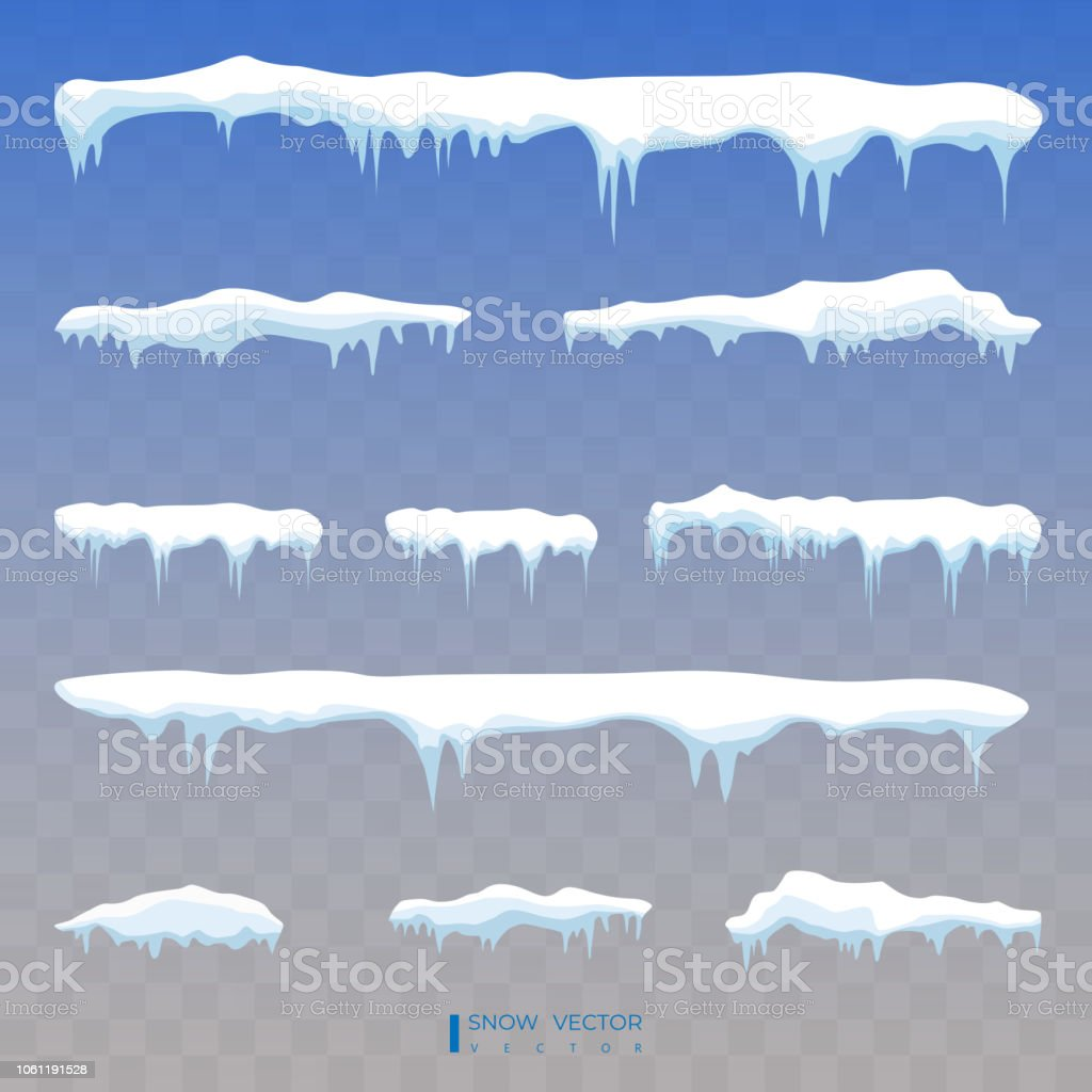 set of snow icicles snow cap isolated snowy elements on winter