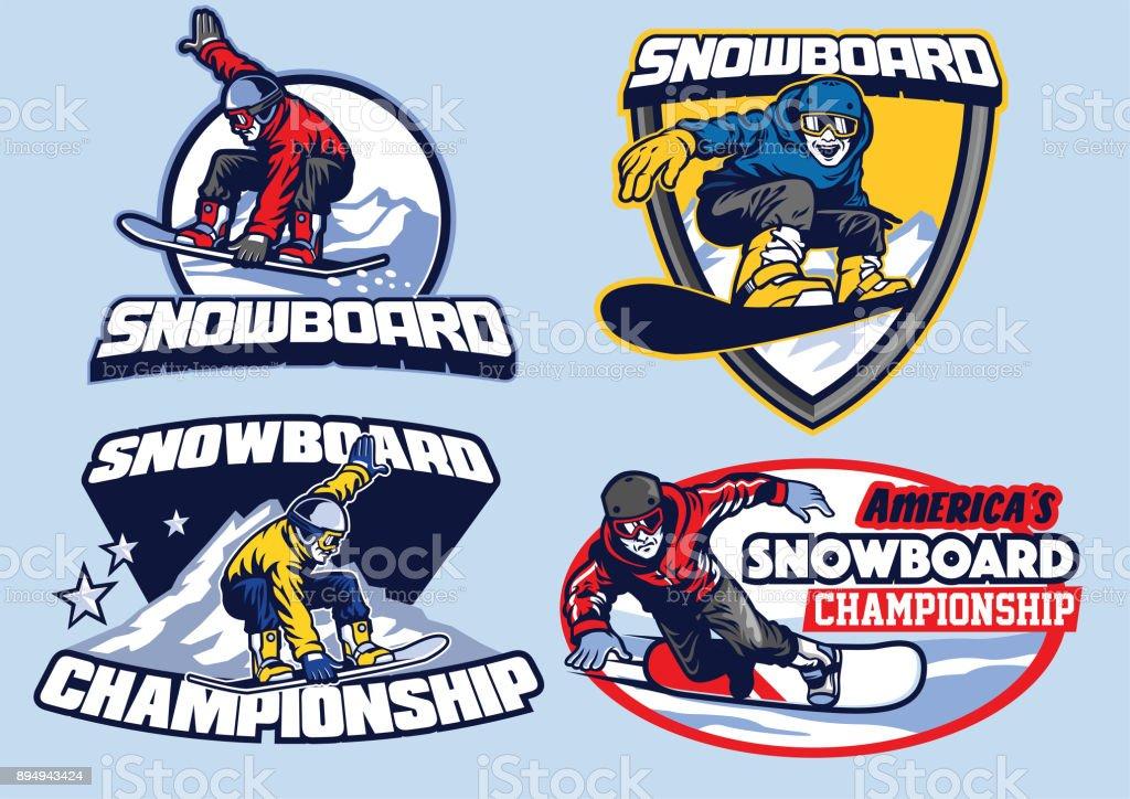 set of snowboard badge design vector art illustration