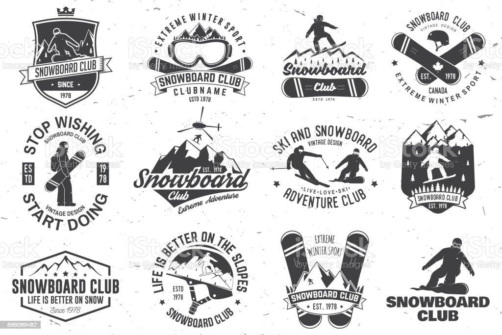 Set of Snowboard Club badges vector art illustration