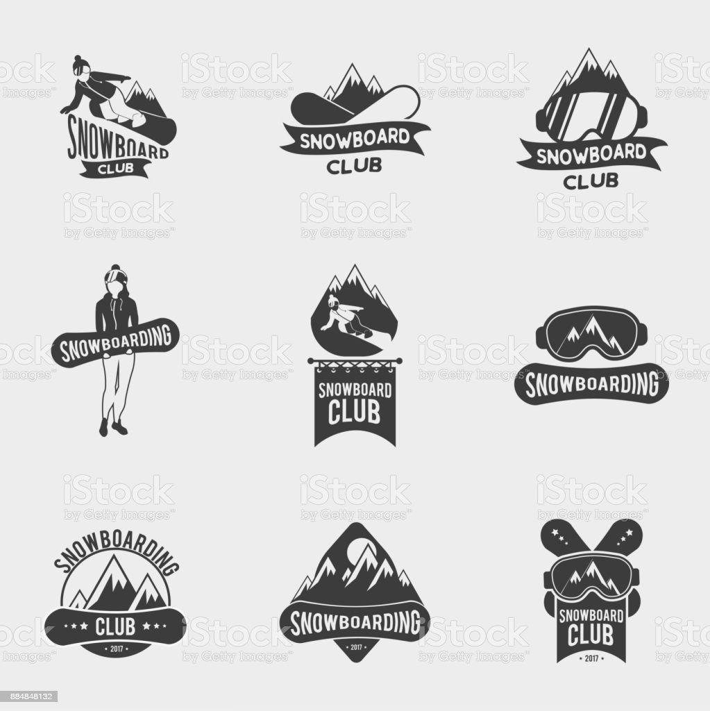 Satz Von Snowboard Club Icons Beschriftungen Oder Abzeichen Vorlagen ...