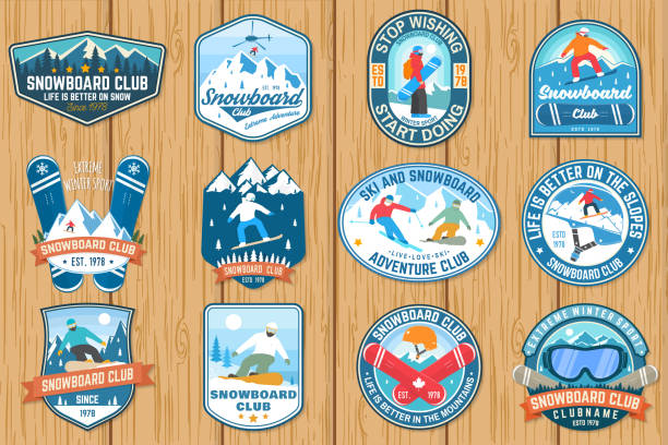 illustrazioni stock, clip art, cartoni animati e icone di tendenza di set of snowboard club patches. vector. concept for patch, shirt, print, stamp or tee. vintage typography design with snowboarder and mountain silhouette. extreme sport. - ski