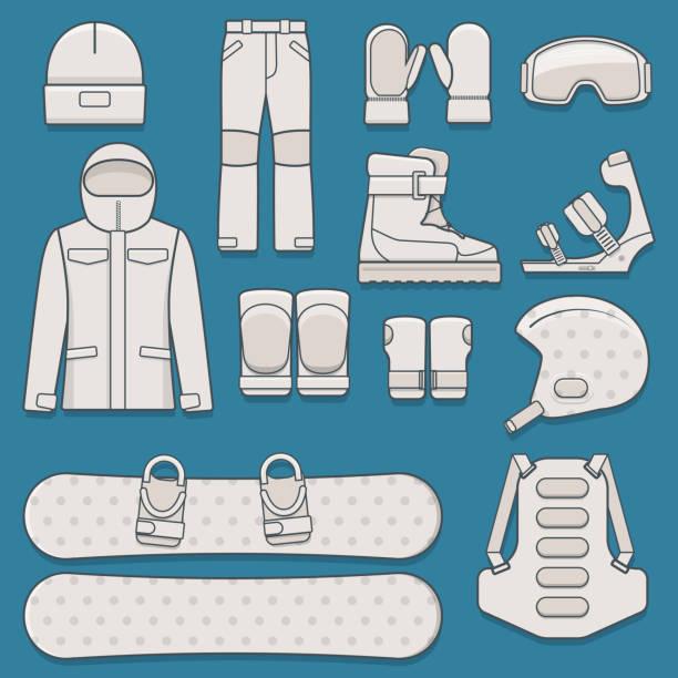 snowboard ausrüstung - funktionsjacke stock-grafiken, -clipart, -cartoons und -symbole