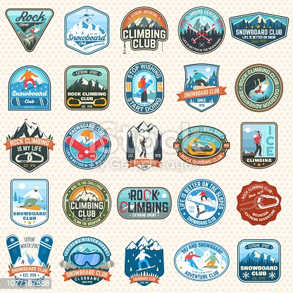 Set of Snowboarding and Rock Climbing club patches. Vector. Concept for patch, shirt, print, stamp or tee. Vintage typography design with snowboarder, climber and mountain silhouette. Extreme sport.
