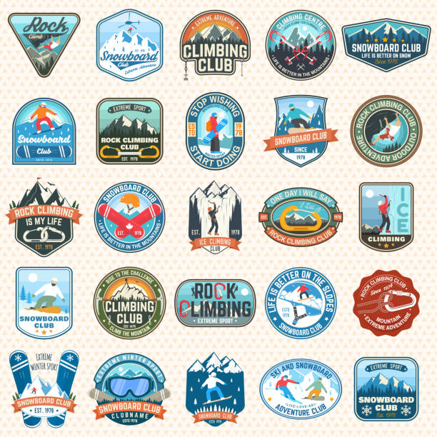 illustrazioni stock, clip art, cartoni animati e icone di tendenza di set of snowboarding and rock climbing club patches. vector. concept for patch, shirt, print, stamp. vintage typography design with snowboarder, climber and mountain silhouette. extreme sport. - ski
