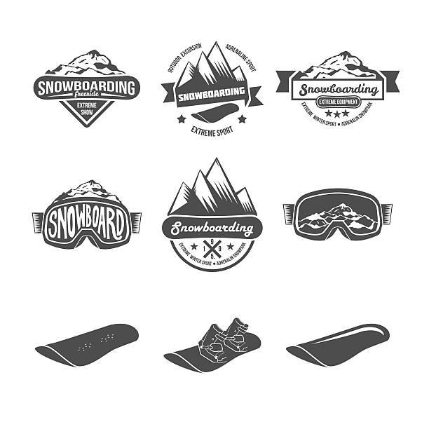 illustrazioni stock, clip art, cartoni animati e icone di tendenza di serie di badge di snowboard - negozio sci