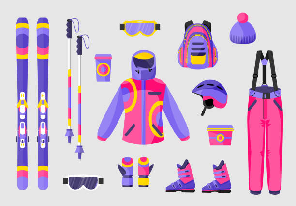 satz von snowboard-ausrüstung, kleidung ausrüstung icons, flache vektor-illustration - funktionsjacke stock-grafiken, -clipart, -cartoons und -symbole