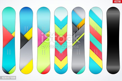 set of snowboards sample symbols stock vector art more images of