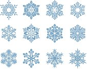 Collection of twelve blue different shape snowflakes. File contain EPS8 and large JPEG.
