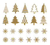 Set of snowflakes and Christmas tree icons.