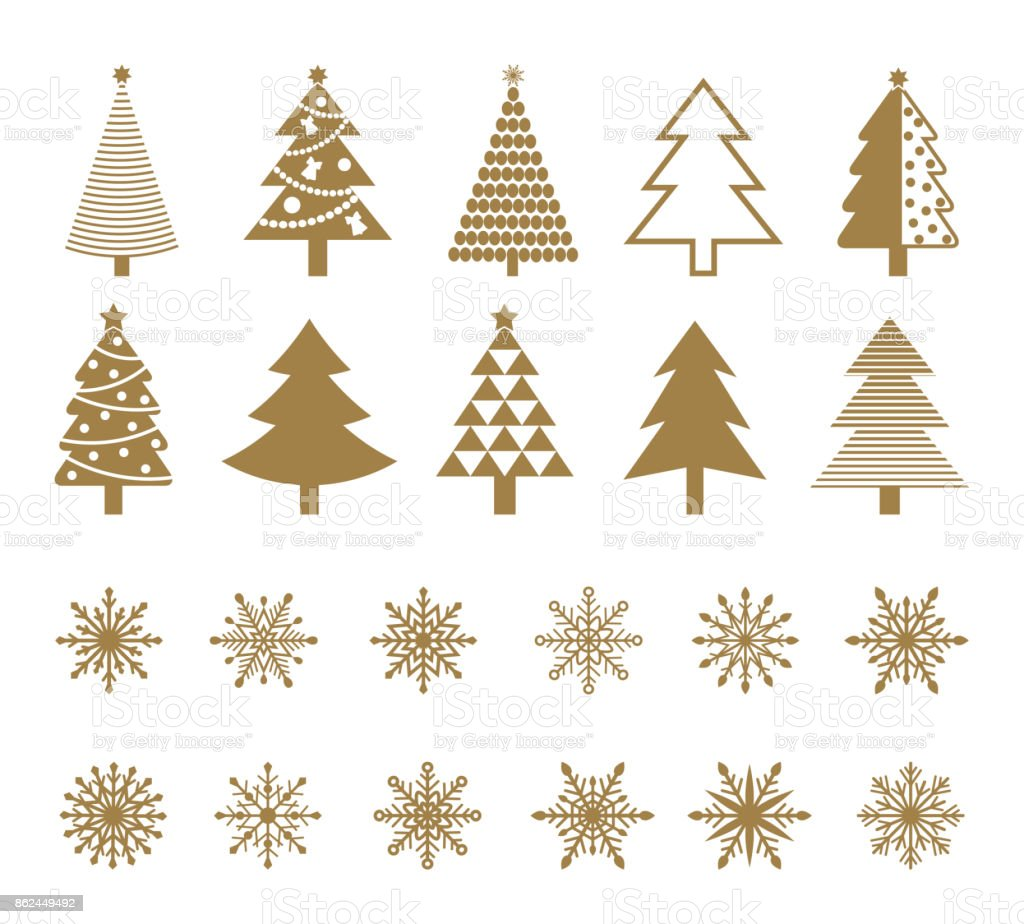 Set of snowflakes and Christmas tree icons. vector art illustration