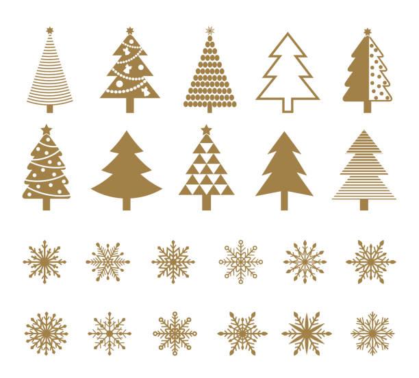 bildbanksillustrationer, clip art samt tecknat material och ikoner med uppsättning av snöflingor och julgran ikoner. - christmas tree