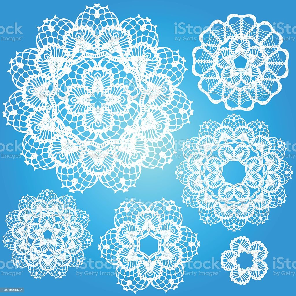 Set of snowflakes doilies. vector art illustration