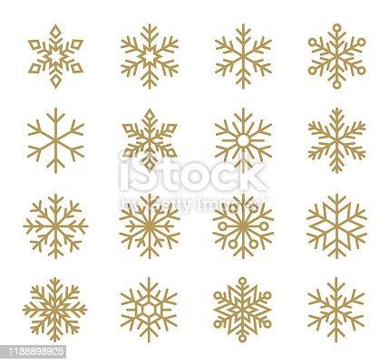 Vector illustration of tne set of snowflakes. Line icons set. Black design elements on white background.